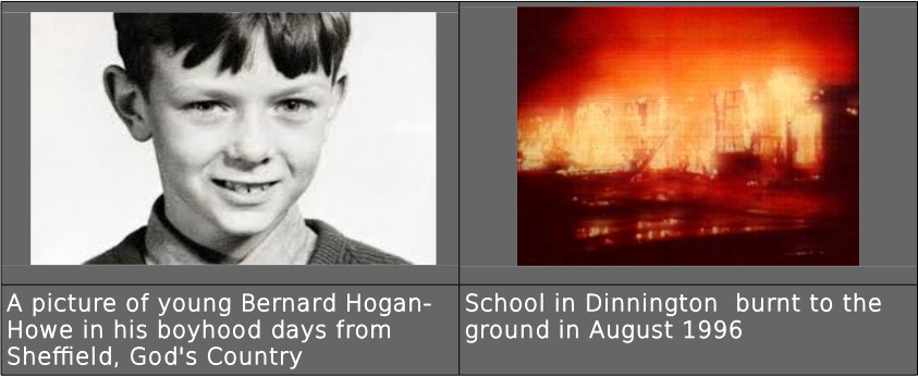 A picture of young Bernard Hogan- Howe in his boyhood days from Sheffield, God's Country School in Dinnington burnt to the ground in August 1996